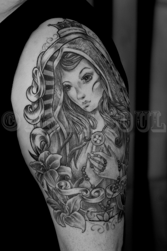 Black and Gray Gypsy Girl Half Sleeve Tattoo – Art n Soul ...