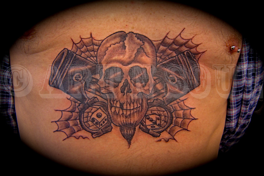 Huge Skull with Wings Tattoo - InkStyleMag  |Skull Tummy Tattoo Wings